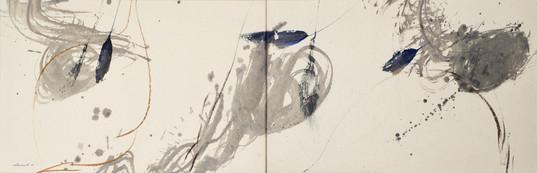 technique miste sur papier du Népal marouflé sur toile 48 x 174 2021