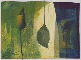 collage de monotypes sur papier de Chine marouflés sur papier Alamigeon 20 x 30 cm 2020