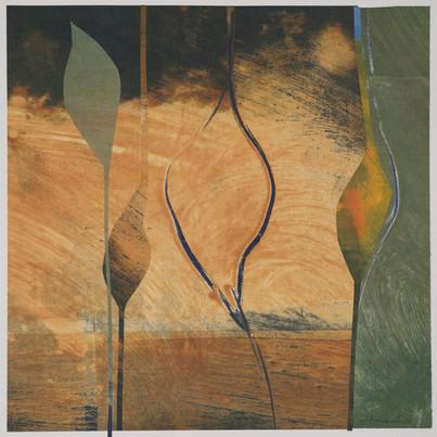 collage de monotypes sur papier de Chine marouflés sur papier Alamigeon 40 x 40 cm 2020