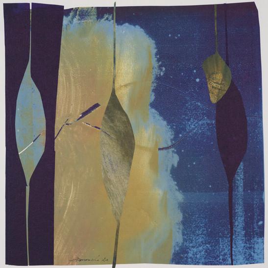 collage de monotypes sur papier de Chine marouflés sur papier Alamigeon 30 x 30 cm 2020