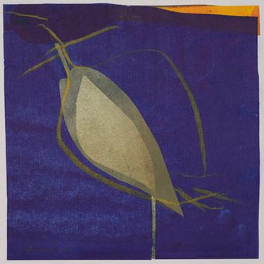 collage de monotypes sur papier de Chine marouflés sur papier Alamigeon rehaussé à la craie de cire 30 x 30 cm 2020