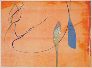 collage de monotypes sur papier de Chine marouflés sur papier Alamigeon et rehaussé à la craie de cire 30 x 40 cm