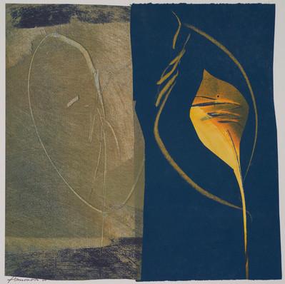 collage de monotypes sur papier de Chine marouflés sur papier Alamigeon et rehaussé à la craie de cire 30 x 30 cm 2020