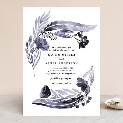 Feathers and florals Blue Invitation