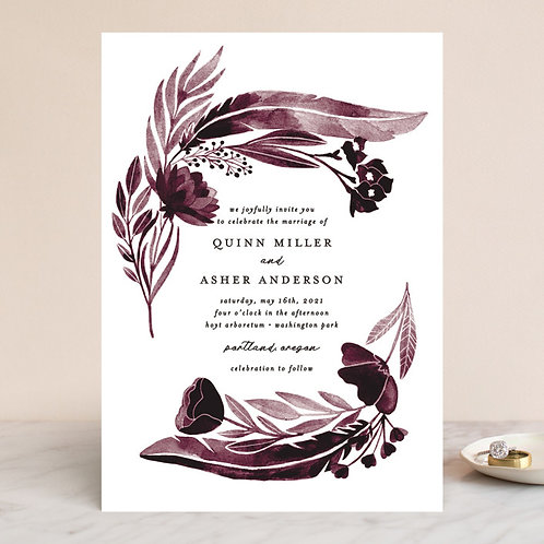 Feathers and florals wine Invitation