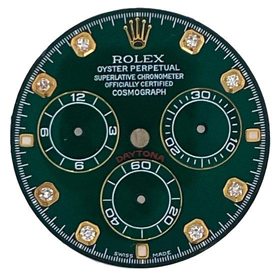 Refined Rolex Cosmograph Daytona Green Racing Dial with diamonds