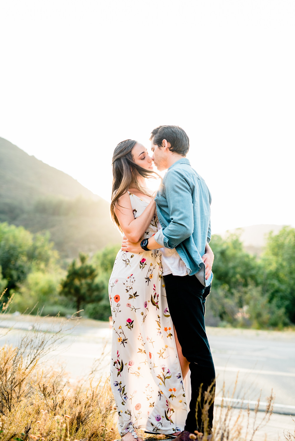 southern california golden hour slow kiss engagement pictures