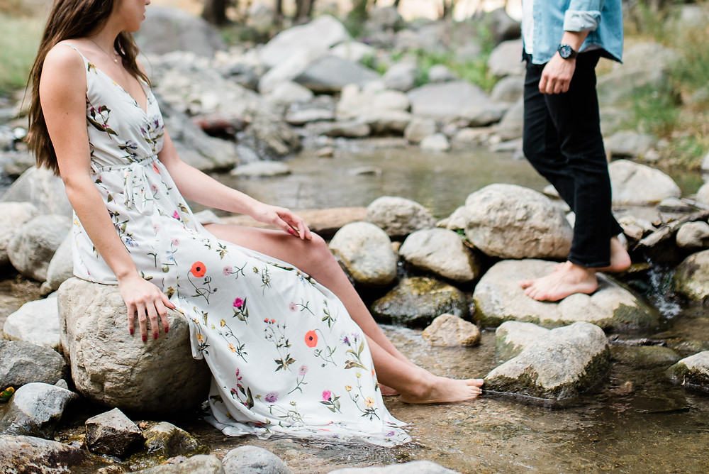 floral white dress in water creek California