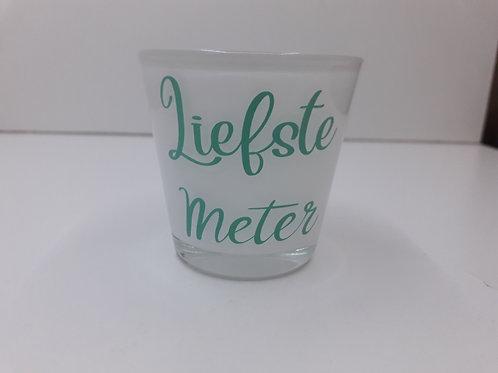Glazen theelichthouder Liefste Meter