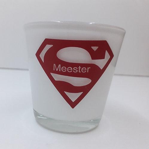 Glazen theelichthouder Super Juf/Meester