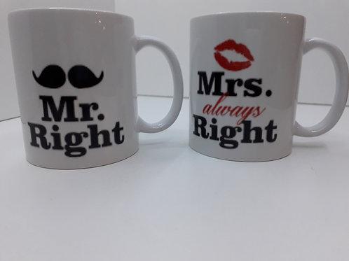 Mok Mr. Right & Mrs. always Right Setje