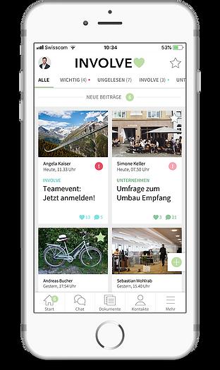Mitarbeiter-App Involve Startseite