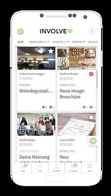 Involve Mitarbeiter-App Screen Startseite