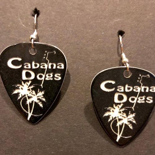 Cabana Dogs Earings Black, ingraved