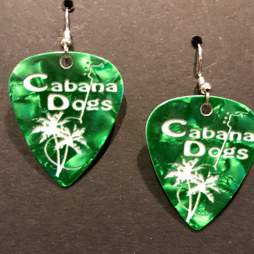 Cabana Dogs Earings Green, ingraved