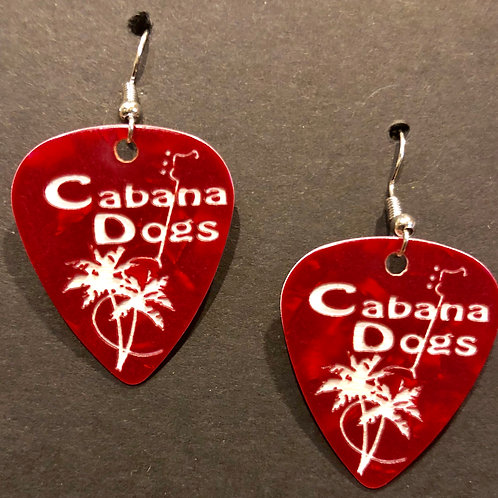 Cabana Dogs Earings Red, ingraved