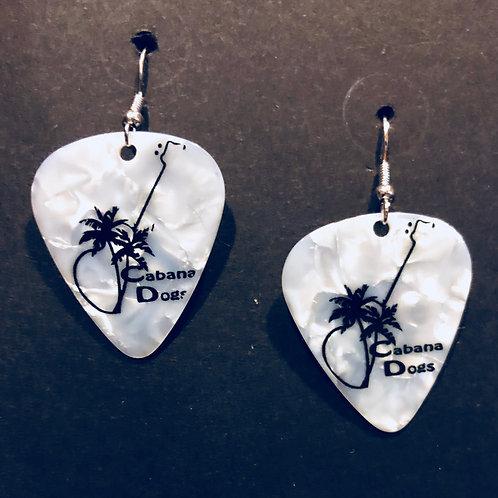 Cabana Dogs Earings White w/ black logo