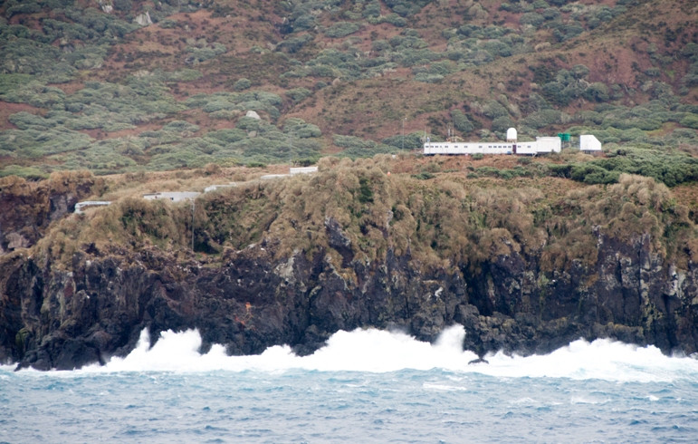 Gough meteorological station from the sea