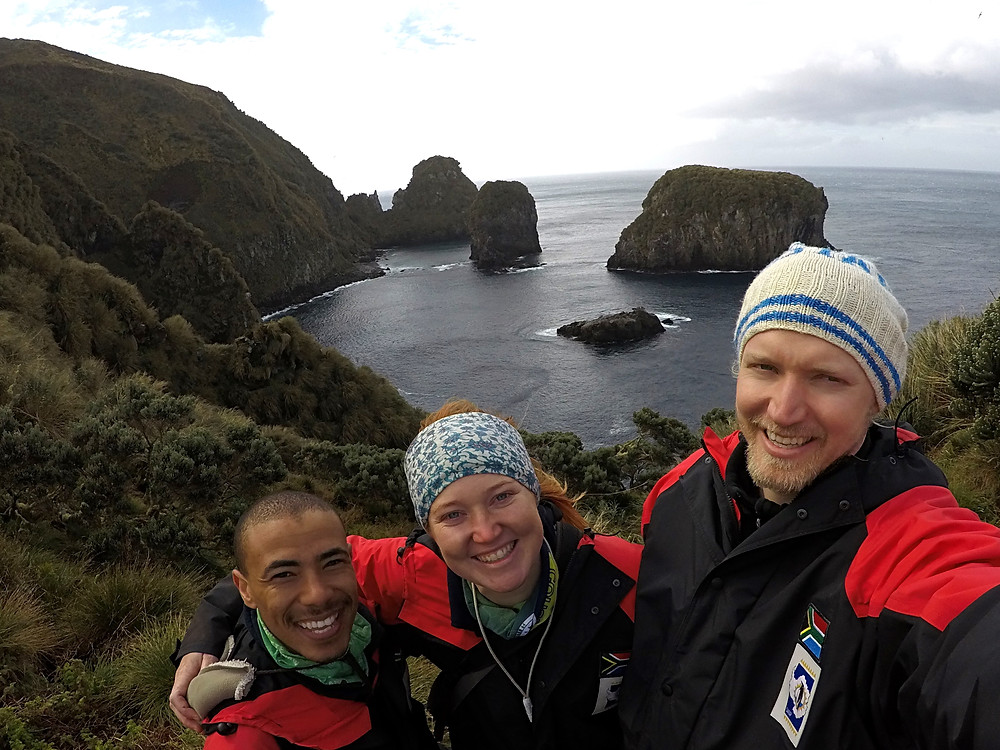 Alexis, Michelle and Chris above Admirals on Gough Island (C.Jones)