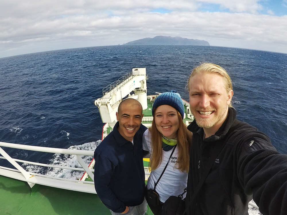 (left-right) Alexis, Michelle and Chris - the Gough 64 team - approaching Gough Island on the SA Aghullas II (C.Jones)
