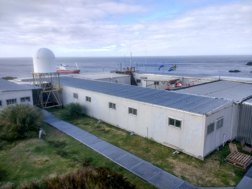Gough meteorological station during annual handover and resupply