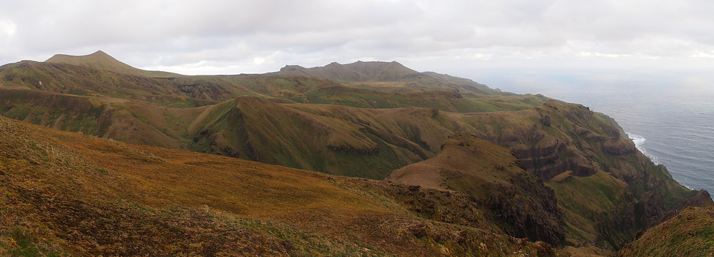 The view from False Peak - a lot of ground to cover. Edinburgh Peak, Gough Island's highest point, is on the left (Kate Lawrence)