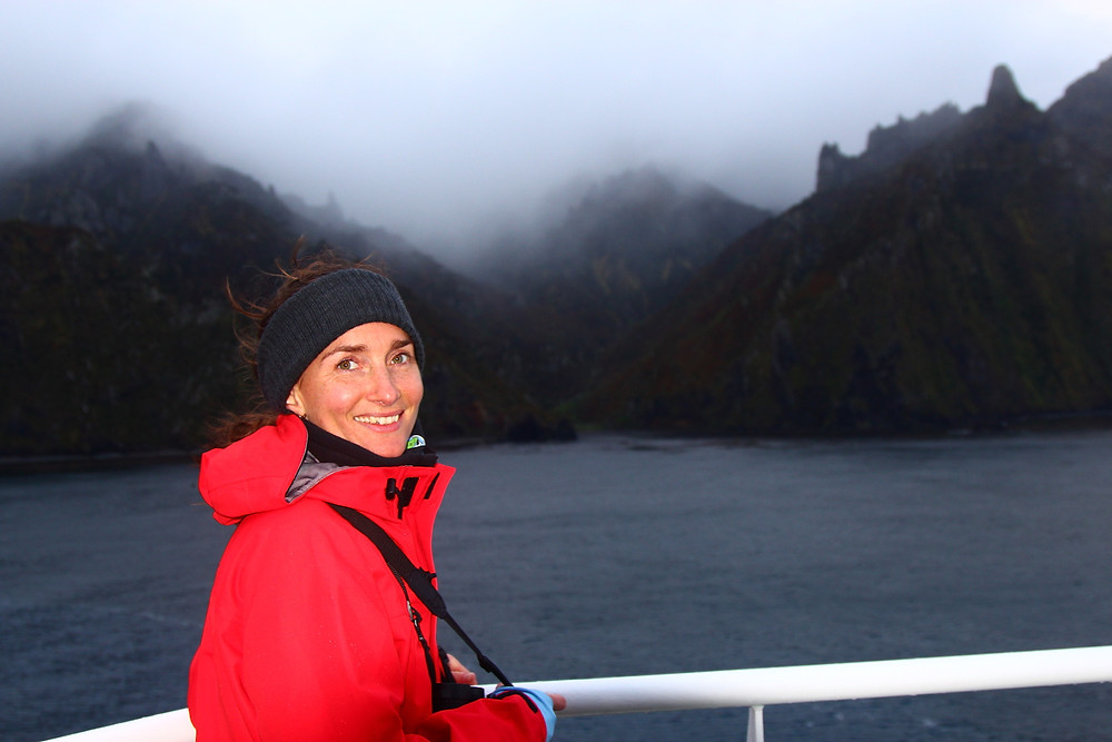 Kate approaching Gough Island for the first time (J. Cleeland)