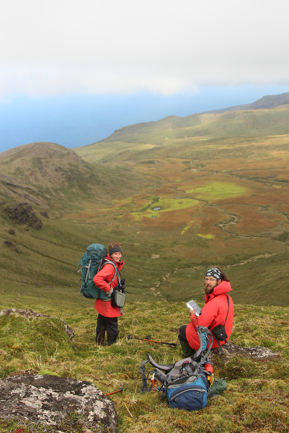 Kate and Fabrice get ready to count a section of Albatross Plain (Jaimie Cleeland)