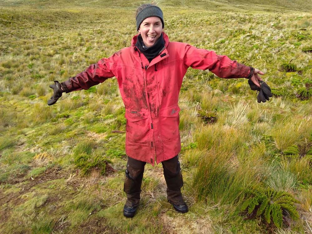 Kate after checking muddy grey petrel burrows (J.Cleeland)