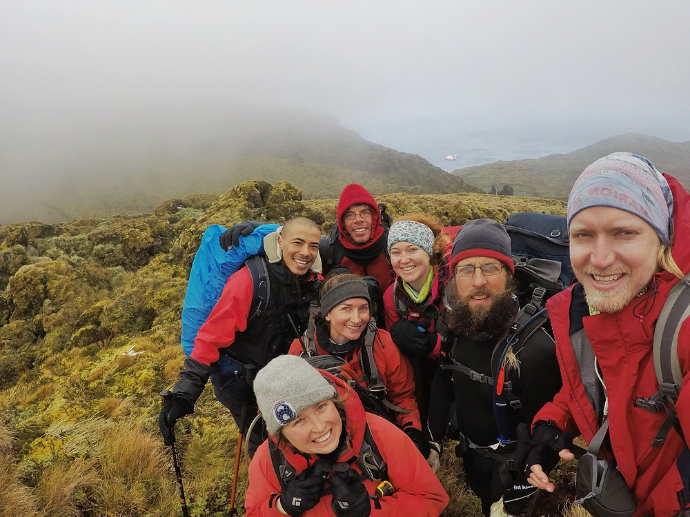 The two Gough teams spent two weeks together exploring the island during takeover! (C. Jones)