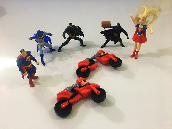 Action Figure Charactets ( approx 7 inches tall) Superman Batman  Superfurl etc