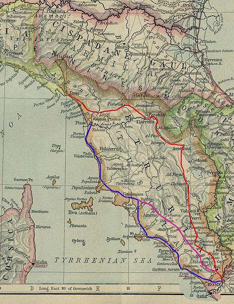 La Cassia (in rosso) e l´Aurelia (in blu), strade consolari