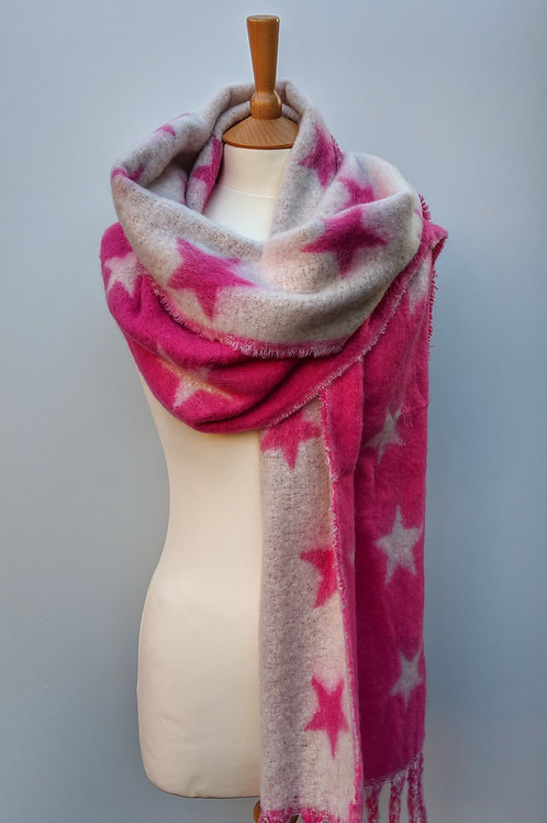 Pink Stars Ladies Winter Scarf