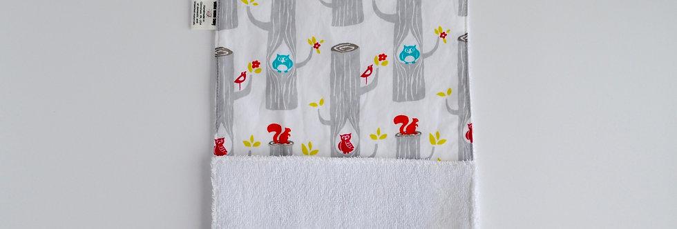 burp cloth with woodland animals
