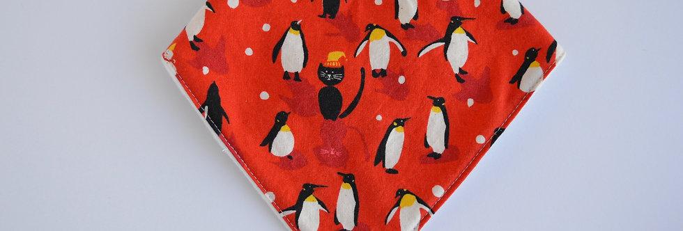 Baby bandana bib in red with penguin design