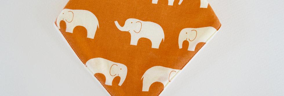 Orange elephant bandana bib