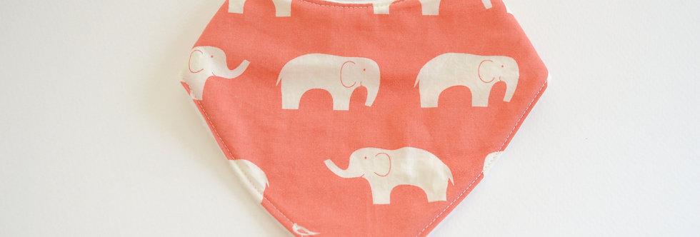 Coral elephant baby bandana bib