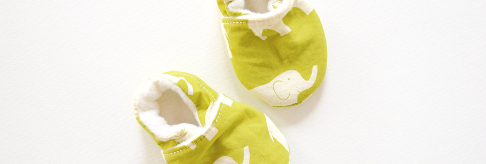 Green elephant baby shoes