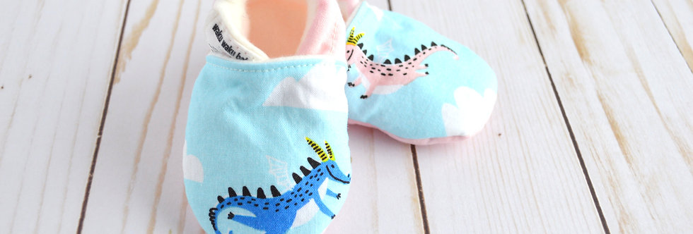Cotton Baby Shoes - Blue Dragon