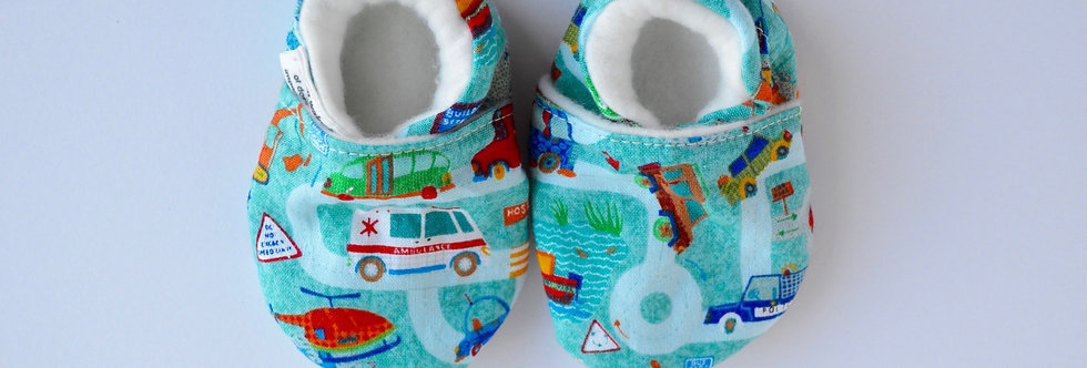 baby shoes with cars and trucks pattern