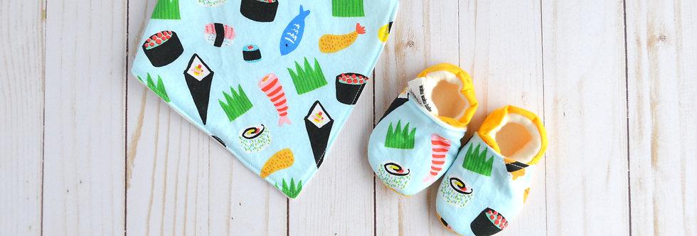 Cotton Bib and Shoe Gift Set - Blue Sushi