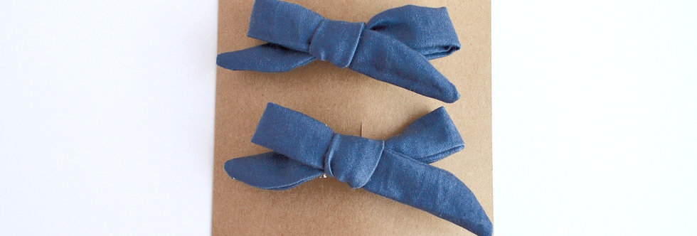 Sateen navy pigtail hairbows