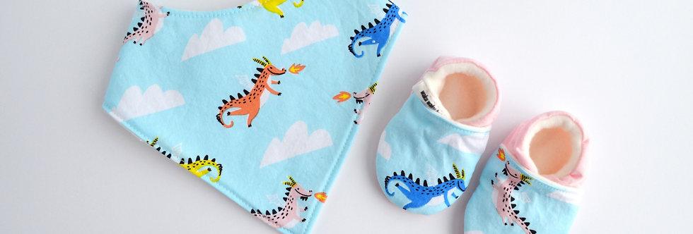 Cotton Bib and Shoe Gift Set - Blue Dragon