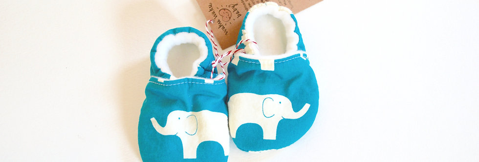 Blue elephant baby shoes