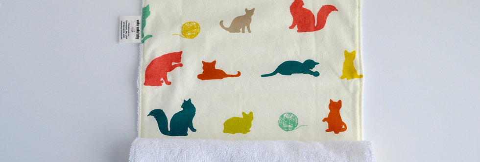 burp cloth in colorful cat print