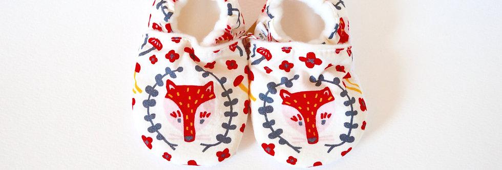 Handmade baby shoes in fox print