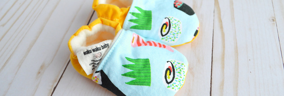 Cotton Baby Shoes - Blue Sushi