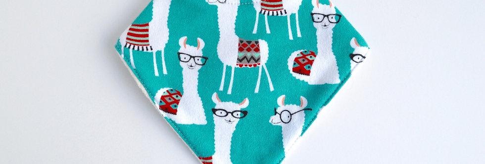 Llama wearing glasses bandana bib