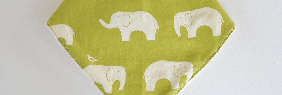Green elephant bandana bib