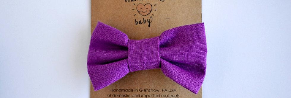 Classic Cotton Hair Bow - Purple